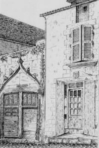 Maison à coté du Logis de la Grande-Barre, avant 1875 (Mémoires SAO, 1875, pl. VI).