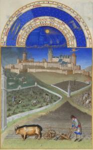 Mois de mars et château de Lusignan, Chantilly, Musée Condé, ms. 65, Les Très Riches Heures du duc de Berry, f. 3.
