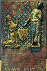 Plaque funéraire de Guy de Meyos. Paris, Musée du Louvre (inv. OA 7495) (de la Commanderie de Civray).
