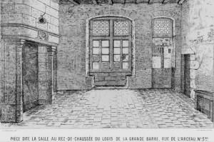 Poitiers, Logis de la Grande-Barre, salle au rez-de-chaussée avec cheminée armoiriée (Mémoires SAO, 1875, pl. VIII)