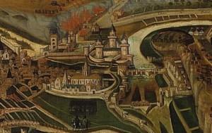 François Nautré, Le siège de Poitiers par l'amiral Gaspard de Coligny en 1569, détail, 1619. Poitiers, Musée Sainte-Croix, inv. 820.1.