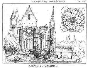 Abbaye de Valence, Choué, dans Brouillet 1865, pl. 13.