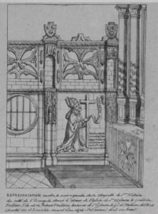 Cloture du choeur et monument funéraire de Robert Poitevin, Poitiers, Eglise Saint-Hilaire (coll. Gaignières)