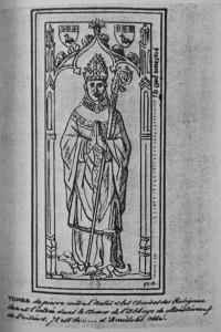 Pierre tombale de Joachim d'Availloles. Abbaye Saint-Jean de Montierneuf (coll. Gaignières).