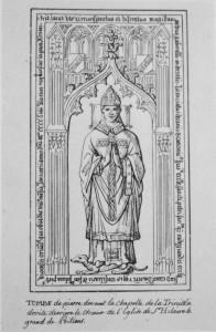Plate tombe de Pierre Gaboreau. Poitiers, Eglise Saint-Hilaire (coll. Gaignières).