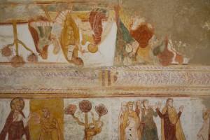 Saint-Savin-et-Saint-Cyprien, détail de la bande faîtière du décor peint de la voûte de la nef avec l'armoirie des Allemagne.