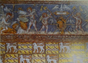 Bonnes, chateau de Touffou, salle seigneuriale, détail du décor peint (dans Allard, Debelle, Faucherre 2002, p. 17).