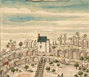L. Boudan, Veüe du dedans de l'Amphithéatre de Poictiers, Bastie par les Romains pour les Spectacles, détail. Paris, BnF, Dép. Estampes et photographie, EST VA-86 5.