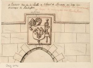 R. de Gaignières, Armes sculptées au-dessus d'une porte, timbrées d'une mitre, d'une crosse et d'un bourdon de pèlerin. Paris, BnF, Est. Reserve Pe-8-Fol.