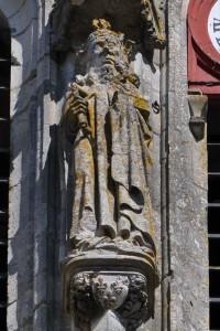 Clovis ou Charlemagne. Saint-Maixent-l'Ecole, abbaye de Saint-Maixent, tour porche.