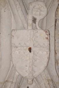 Abbaye Notre-Dame, Celles-sur-Belle, église abbatiale, bas-coté nord, IVème chapelle, armoirie 12.