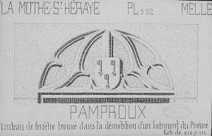 Arthur Bouneault, linteau de fenetre aux armes des Chevalier (prieuré de Pamproux).