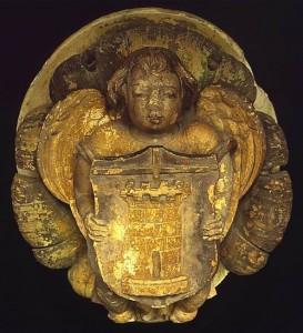 Clef de voûte ornée d'un écusson aux armes des Aymer. Poitiers, Musée Sainte-Croix (provenant de Poitiers, Grand'prieuré d'Aquitaine).