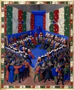 Le Lit de justice de Vendôme, procés du duc d'Alençon. Munich,Staatsbibliothek, Cod. gall. 6, Boccaccio, f. 2v.