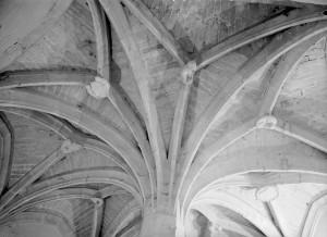 Pamproux, prieuré, couverture de la tour d'escalier.
