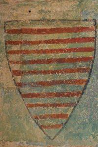 Écus aux armes Lusignan-La Marche. Vivonne, église Saint-Georges, bras nord du transept, enfeu.