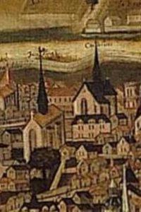 François Nautré, Le siège de Poitiers par l'amiral Gaspard de Coligny, détail des églises des Jacobins (en premier plan) et des Cordeliers. Poitiers, Musée Sainte-Croix, inv. 820.1.