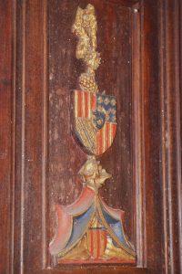 Chaire du prêcheur, détail d'un panneau aux armes d'Amboise et de Pierre d'Amboise. Eglise Saint-Pierre-et-Saint-Paul, Dissay.