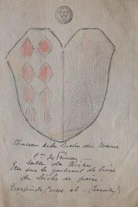 L. Charbonneau-Lassay, Armoirie Turpin-Tiercelin, chateau de la Roche-du-Maine, salle des biches (Loudun, Musée Charbonneau-Lassay, 0.M0850_2014.0.7.3).