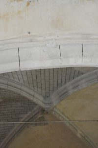 Église Saint-Aventin,  Vendeuvre, mise en signe héraldique de la chapelle seigneuriale.