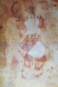 Armoirie de Jean de Moussy tenue par un homme sauvage. Antigny, Notre-Dame, chapelle Sainte-Catherine.