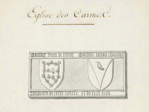 Inscriptions aux armes de William Felton et de John Chandos (déjà Poitiers, couvent des Carmes). Poitiers, Médiathèque, ms. 547, t. 2, f. 135.