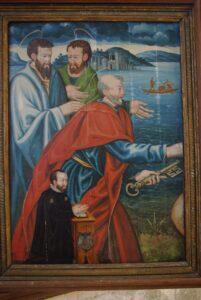 Remise des clefs à saint-Pierre avec donateur (Pierre Mauroy). Montgueux, église Sainte-Croix.